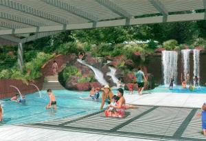 Rendering View of kids pools and waterfalls